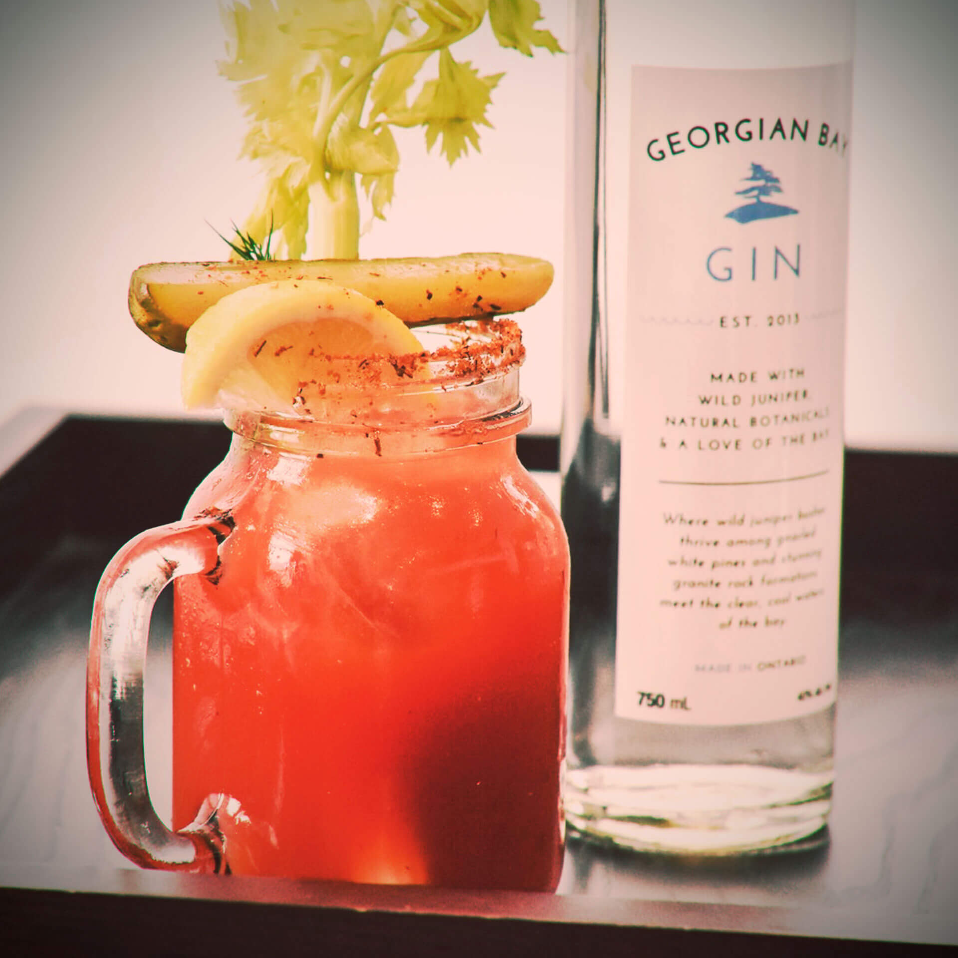 The Georgian Caesar is our take on a Classic Canadian Cocktail. Choose to use Georgian Bay Gin or Vodka