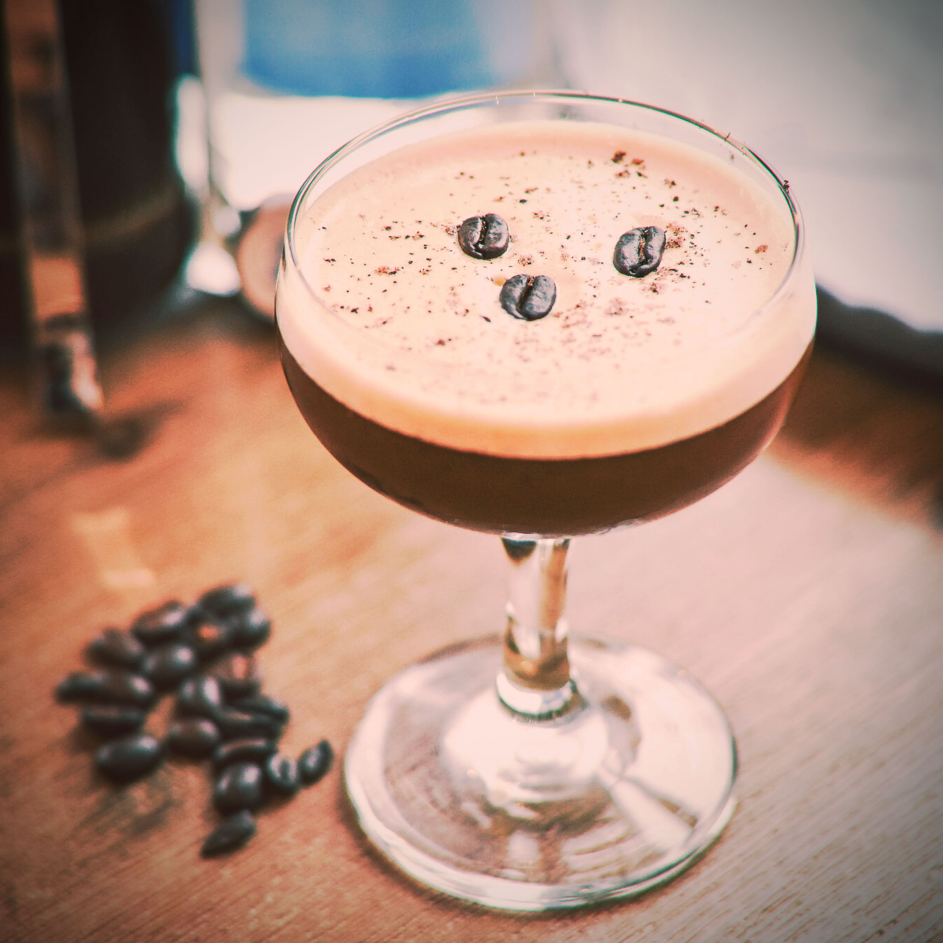 Espresso Cocktail with coffee bean garnish uses Georgian Bay Vodka