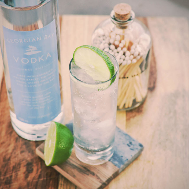 A classic vodka soda garnished with lime uses the worlds best Georgian Bay Vodka