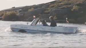 The three Partners in the Georgian Bay spirit co amphicar on the water