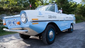 the front end of George the Georgian Bay Amphicar from Georgian Bay Spirit Co.