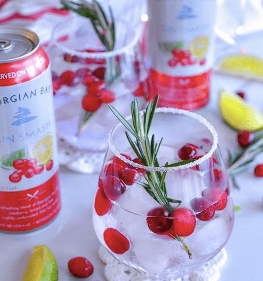 cranberry gin smash